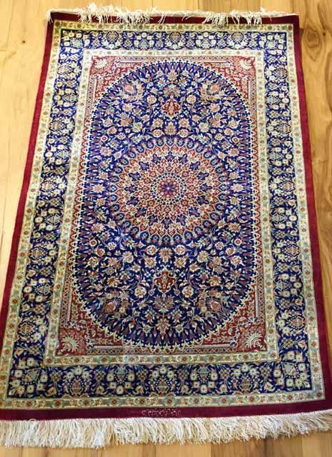 A2387C-2'7x4'2 Persian Qum silk signed rug, $1,999